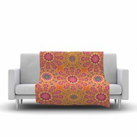 "Miranda Mol ""Pixelated Bright"" Orange Pink Pattern Arabesque Digital Vector Fleece Throw Blanket"