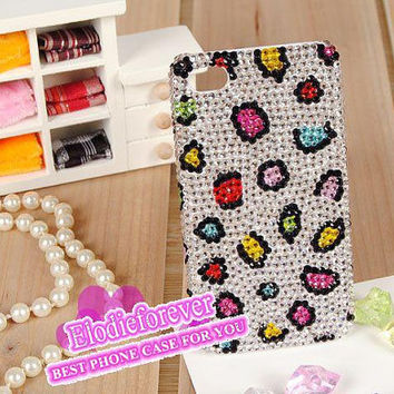 Celebrity iPhone case, Bling iphone 5 cases, Leopard iPhone 4 case,Swarovski crystal iPhone 4S Case,Designer iPhone case, C001