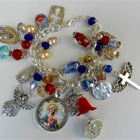 Catholic Religious Charm Bracelet Sacred Heart Virgin Mary Bracelet