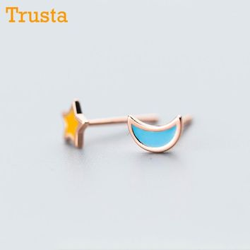 Trusta 100% 925 Real Sterling Silver Women Jewelry Fashion Cute Tiny Asymmetric Moon Star Stud Earrings For Daughter Girls DS544