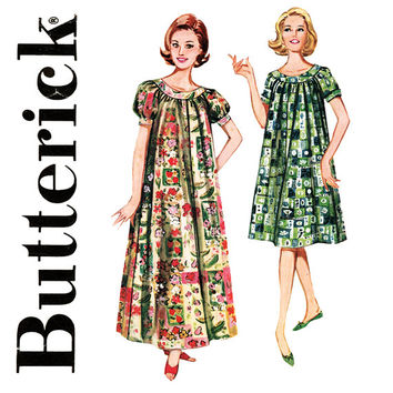 1960s Muu Muu Pattern Bust 32 Butterick 9946 Pullover Housedress Maxi Dress Tent Dress Nightgown Lounging Robe Womens Vintage Sewing Pattern