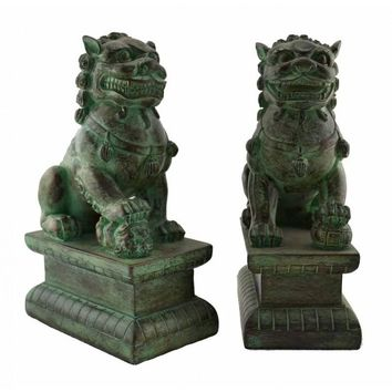 Chinese Contemporary Fu Temple Dogs Statue in Bronze Finish