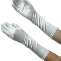 Dressy Elbow Length Satin Gloves for Girls, Assorted. Sizes and Colors