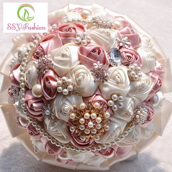 High grade Bouquet Luxury Satin Beading Pearl Crystal for Bridesmaid Wedding Bouquet Accessories