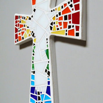 "Mosaic Wall Cross, Large, White with Rainbow + White Glass, Handmade Stained Glass Mosaic Cross Wall Decor, 15"" x 10"""