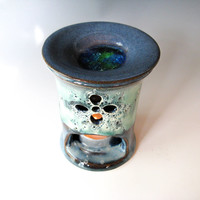 Essential Oil diffuser - Blue & Green Oil Warmer - Aromatherapy - handthrown stoneware