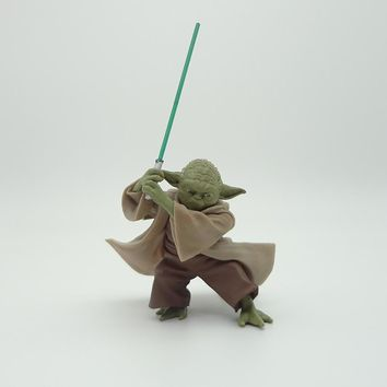 Star Wars Force Episode 1 2 3 4 5  Master Yoda Action Figure 1/8 scale painted figure Green Lightsaber Fighting Ver. Yoda PVC figure Toy Brinquedos Anime AT_72_6
