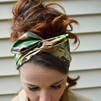 U.S. Army Multicam Camo Dolly bow, Multicam American head band, hair bow