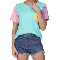 Pastel Color Blocked Kawaii Cotton Color Patchwork Tee (Teal /Pink)