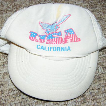 vintage white cap USA California