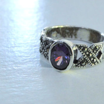Amethyst Marcasite Ring Wide Sterling Band Faceted Amethyst Ring Size 4.75