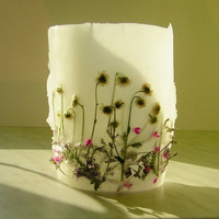 Meadow  Dried Flower Decorative Handmade Candle Lantern Bathroom Bedroom Nature Floral  Decor Housewares Flower Decor  White Green Fuchsia