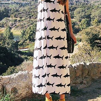 White Sleeveless Shark Print Maxi Dress