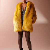 UO Ami Faux Fur Collarless Coat | Urban Outfitters