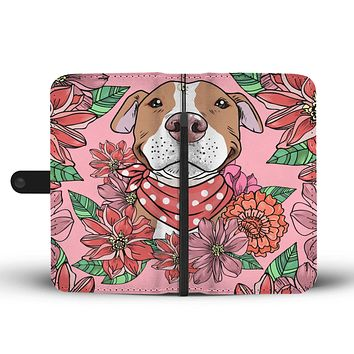 Illustrated Brown  Pit Bull Wallet Phone Case