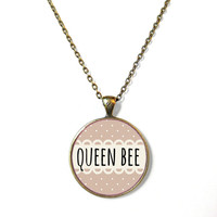 Funny Pastel Goth 90s Soft Grunge Creepy Cute Bubblegum Nu Goth Antisocial QUEEN BEE Necklace - Creepy Cute Kawaii Nu Goth Jewelry