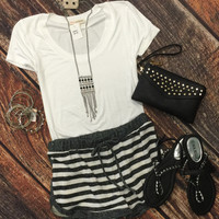 Striped Terry Shorts: Charcoal