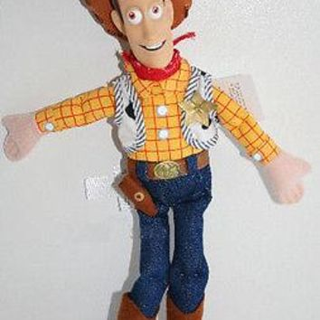 "Licensed cool 12"" Disney Store TOY STORY 3 COWBOY SHERIFF WOODY PLUSH bean bag DOLL HARD FACE"
