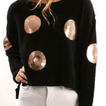 New Black Patchwork Sequin High-low Round Neck Long Sleeve Pullover Sweater