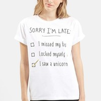 Petite Women's Topshop 'Sorry I'm Late' Short Sleeve Tee,