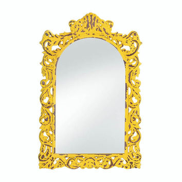 Opulent Distressed Yellow Wood Frame Arched Timeless Accent Wall Mirror