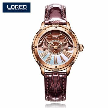 LOREO Design Woman Watches Leather Hollow Automatic Mechanical Watch Auto Date Women Swimming Watches 50M Waterproof AB2064