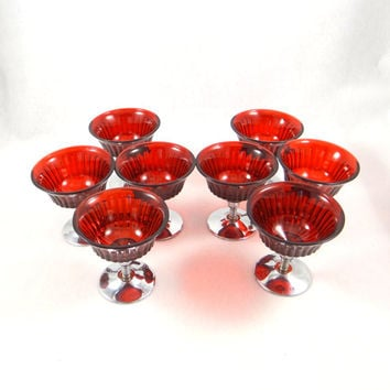 Vintage Cranberry Glass and Chrome Dessert Cups. Ice Cream or Sherbert Bowls. Cambridge Glass