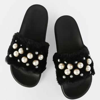 Fuzzy Pearl Slides BLACK