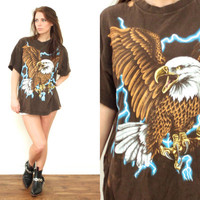 Vintage 80s EAGLE Thunder Lightning Bleached Brown T Shirt Tee // Biker Hipster Grunge Boho Gypsy // XS / Small / Medium / Large