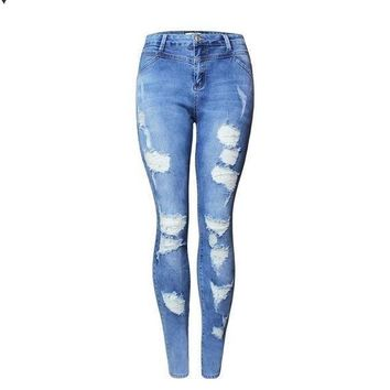 MDIG8H2 Hot Fashion Ladies High Waist Jeans Cotton Denim Pants Stretch Womens Bleach Ripped Skinny Jeans For Female