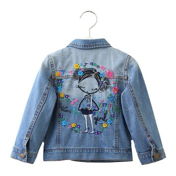Kids Girls Jackets Long Sleeves Turn-down Collar Buttons Coats Sweet Girl Embroidery Denim Outerwear Kids Clothes Hight Quality