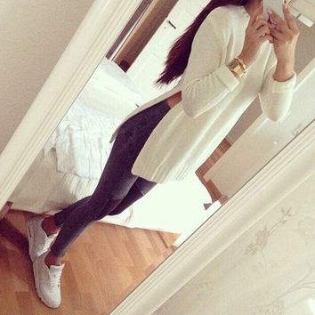 White O-neck Long Sleeve Side Split Long Knitwear Women Casual Tops Pullover Coat