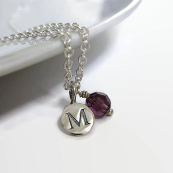 Initial necklace, Birthstone necklace, personalised gift idea, initial pendant, silver necklace, graduation gift, jewellery uk