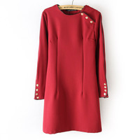 Strong Character Vintage Round-neck Long Sleeve One Piece Dress [4917832260]