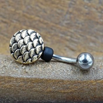 Gold Mermaid Scales Belly Button Ring - Short Belly Button Jewellery