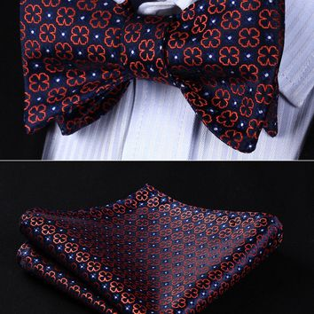 Classic  BF606VS Navy Blue Orange Floral Bowtie Men Silk Self Bow Tie handkerchief set Pocket Square Wedding