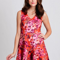 Living In Paradise Floral Dress In Orange