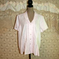 Plus Size Light Pink Linen Blouse Short Sleeve Pink Blouse Spring Blouse Summer Blouse Button Up Blouse Size 18 Blouse XL 2X Womens Clothing