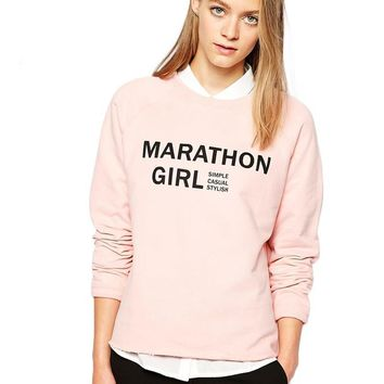 Apparel Solid Color Letter Printed Women Sweatshirts Sweet O-neck Full Sleeve Lady Tops Female Casual Pullovers