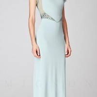 Illusion Embellished Cap Sleeve Long Evening Dresses by Mignon