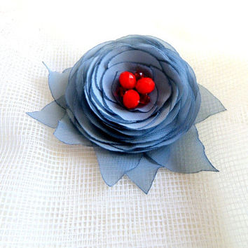 Brooch Accessories Brooch flower Clip for hair Wedding Gray flower, Grey and red , Wedding accessories