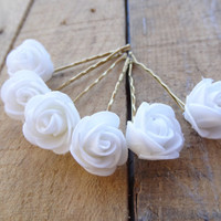 White  Rose Wedding Hair Pins, IWhite Bridal Hair Pins, Hair Accessories, Bridesmaid Hair, Woodland - Set of 6