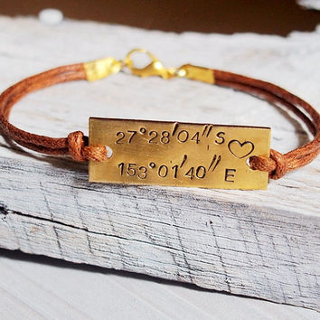 Latitude Longitude Bracelet, Coordinates Bracelet Location bracelet Engraved GPS Bracelet, Personalized engraved bracelet, Father's day Gift