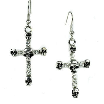 Silver Cross Skull Gothic Earrings Cosplay