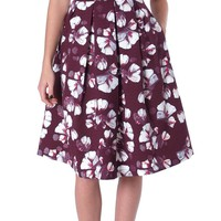 Today Mood Pleats Midi Skirt - Red Floral
