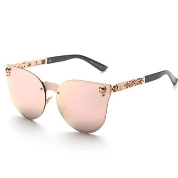 New brand vintage retro gothic steampunk mirror sunglasses women SKULL flower rose gold mirror metal rimless cat eye shades UV