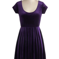 ModCloth Vintage Inspired Mid-length Cap Sleeves A-line Vivacious in Velvet Dress in Purple