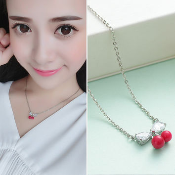 Jewelry Gift New Arrival Shiny 925 Silver Decoration Butterfly Korean Stylish Crystal Necklace [7587131015]