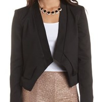 Cropped Asymmetrical Blazer by Charlotte Russe - Black