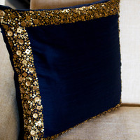 Throw Pillows - Navy Blue cushion with gold sequin boarder - sequin bead pillow - 16X16 - Navy blue pillow cover - gift pillow - Wedding